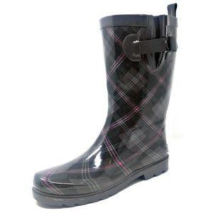 "Women 11"" Mid-Calf Rubber Plaid Rain Boots"